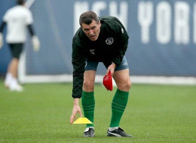Roy Keane puts out the cones yesterday.