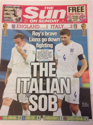 The Sun reacts to England's loss.