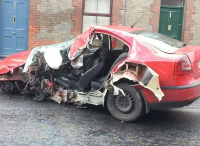 The hijacked car following the crash.