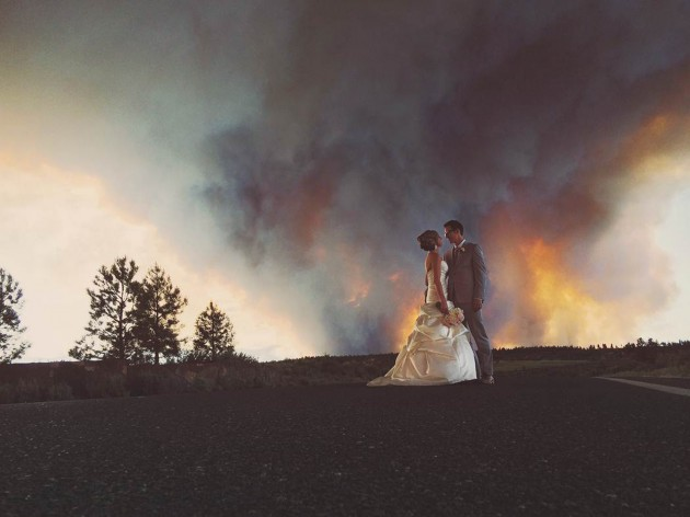 Wildfire Wedding Photo