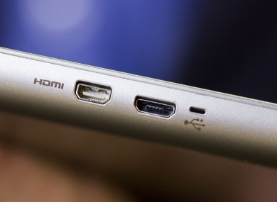 A USB port on a laptop