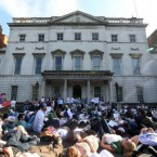 Gaza Action Ireland Protest. Protesters lay down outside of the Department of Foreign Affairs as symbolism to the deaths over the conflict in Israel and Gaza.  Photographed by: Sam Boal <span class=