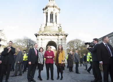 Angel Merkel visiting TCD last year.