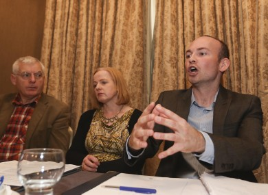 Paul Murphy is flanked by Ruth Coppinger and Joe Higgins.