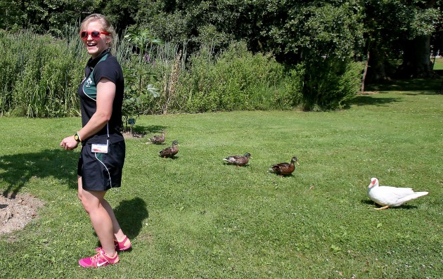 Claire Molloy with ducks at the team hotel 27/7/2014