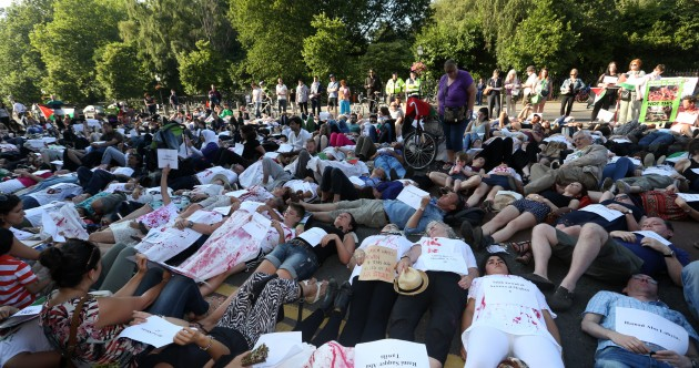 Hundreds attend 'die-in' Gaza protest in Dublin