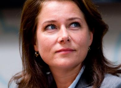 Birgitte Nyborg of popular Danish political drama 'Borgen'. Happy, apparently.