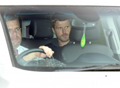 Carrick driven away from United's Carrington base yesterday.