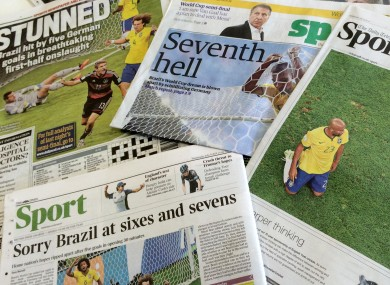Brazil's 7-1 defeat against Germany dominated Wednesday's sports pages.