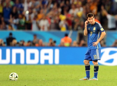 Lionel Messi waits to kick off after Argentina fell behind 1-0.