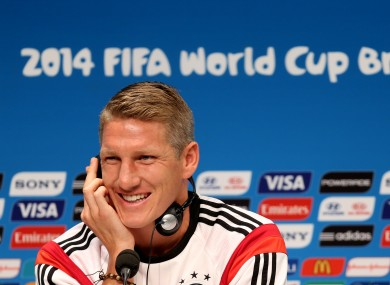 Germany's Bastian Schweinsteiger during a press conference at the Estadio do Maracana, Rio de Janerio, Brazil.