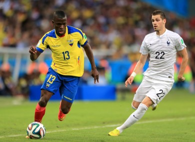 Valencia, 25, scored all three of Ecuador's goals at the World Cup.