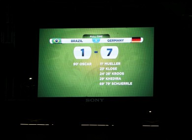A view of the scoreboard showing Brazil 1 Germany 7 after the FIFA World Cup semi-final at Estadio Mineirao.