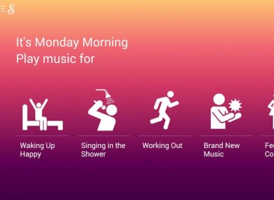 One group of playlists offered by Songza, based on time of day and activity.