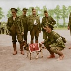 Canadian infantry with the mascot of the 3rd Canadian Infantry Battalion, August 1916.<span class=