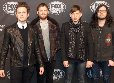 Kings of Leon, with injured drummer Nathan Followill on far right.