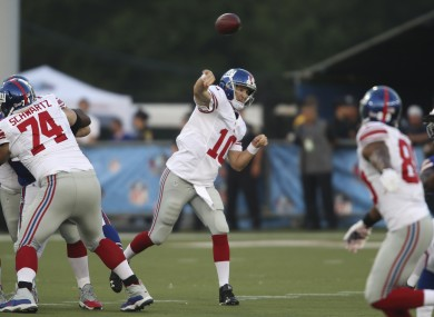 Eli Manning during last night's game.