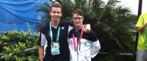 Hendrick, right, with coach Eoin Rheinisch.