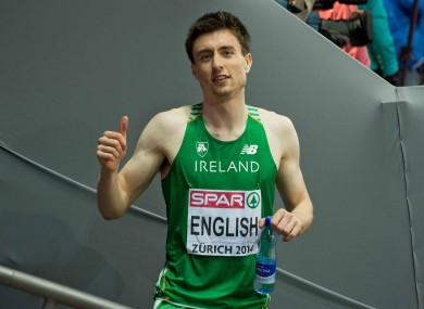 Ireland's Mark English celebrates qualifying for the final of the Men's 800m.