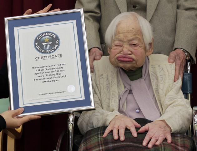 Japan's 114-year-old woman Misao Okawa. Source: Itsuo Inouye