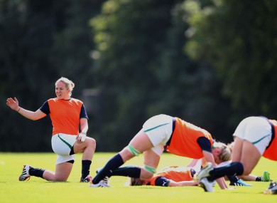 Niamh Briggs stretches out in training yesterday.