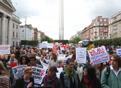 A pro-choice protest that took place on Wednesday.