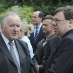 Former Taoiseach Albert Reynolds with fellow former Taoiseach Brian Cowen at the funeral mass of former Attorney General Rory Brady .<span class=