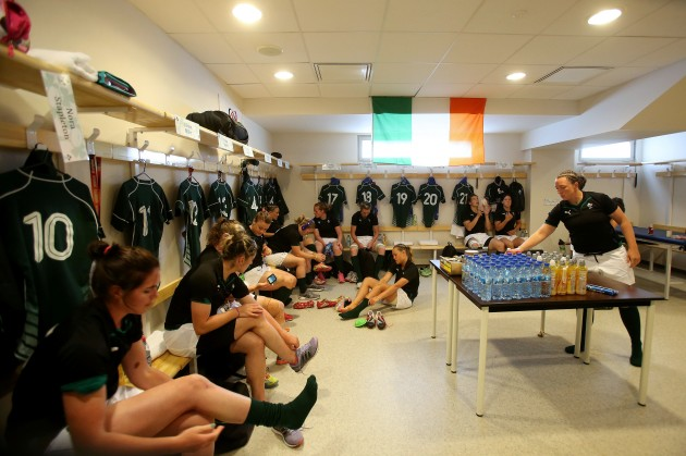The Ireland players in the dressing room before the game