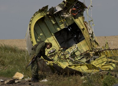 MH17 wreckage at the crash site.