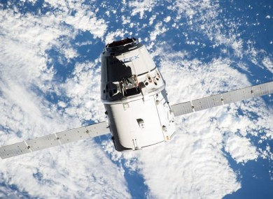 The SpaceX Dragon commercial cargo craft approaching the International Space Station yesterday.