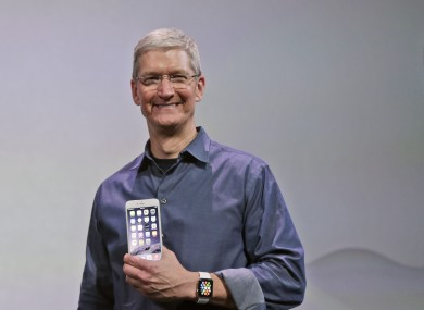 Apple CEO Tim Cook announcing the iPhone 6 and 6 Plus earlier this month.