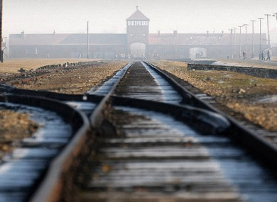 Rail tracks leading into the Auschwitz-Birkenau concentration camp.