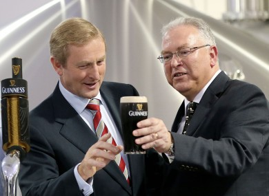 Taoiseach Enda Kenny gets close to a pint at the new Guinness Brewhouse No.4.