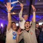 Supporters of the No campaign for the Scottish independence referendum celebrate after the final result was announced at a No campaign event at a hotel in Glasgow, Scotland.<span class=