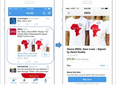 How the Twitter buy button will look.
