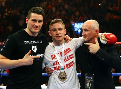 Frampton, centre, with Shane and Barry McGuigan after his KO win against Hugo Cazares earlier this year.