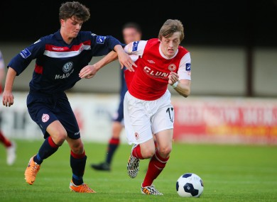 McDonnell (left) in action for Shelbourne this season.