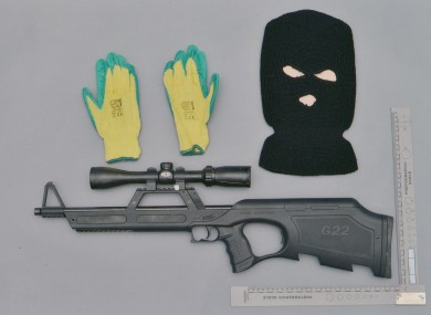 The .22 rifle, gloves, and balaclava found at the home of Gavin Coney near Omagh, Co Tyrone.