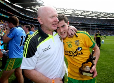Bonnar celebrates after the minor semi-final victory  with Stephen McBrearty