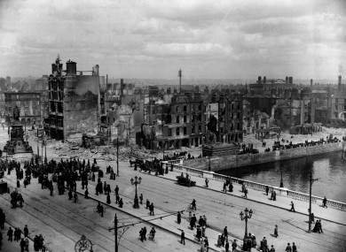 A view of Sackville Street (O'Connell St) and the River Liffey at Eden Quay in May 1916.