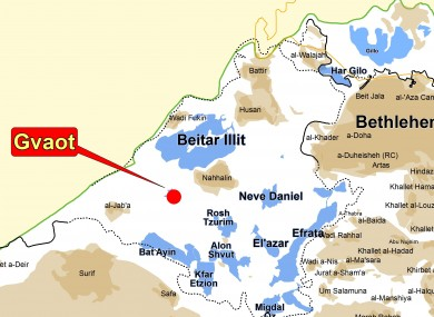 A map showing the settlement of Gevaot in the West Bank