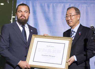 UN's Ban Ki-moon designated actor and committed environmental activist, Leonardo DiCaprio, as a UN Messenger of Peace with a special focus on climate change.
