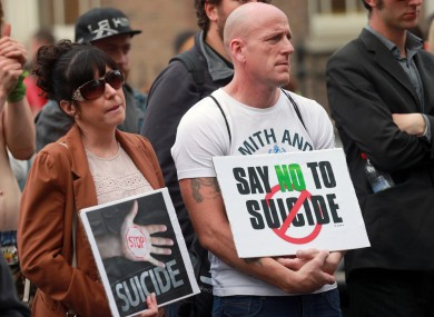 People affected by suicide at the March for Suicide Prevention in Dublin earlier this year.