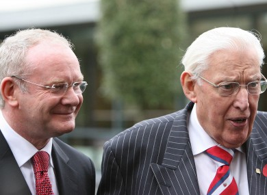 Northern Ireland's Deputy First Minister Martin McGuinness with Ian Paisley.