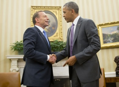 File photo of Australian Prime Minister Tony Abbott with US President Barack Obama.