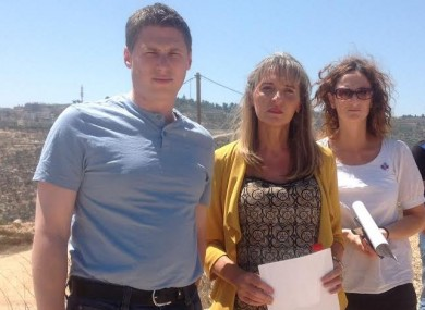 Sinn Féin MEPs Matt Carthy, Martina Anderson and Lynn Boylan at the Gilo settlement in the West Bank.
