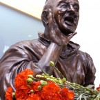 Flowers laid by the bust of former Nottingham Forest manager Brian Clough, at the City Ground in Nottingham.<span class=