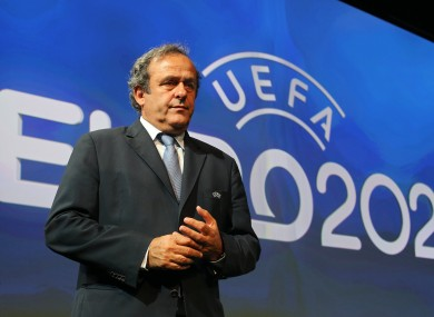 UEFA boss Michel Platini at yesterday's Euro 2020 announcement.