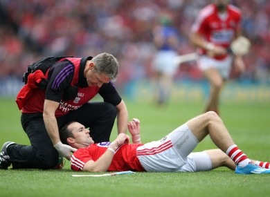 Stephen McDonnell receives treatment in the All-Ireland semi-final.