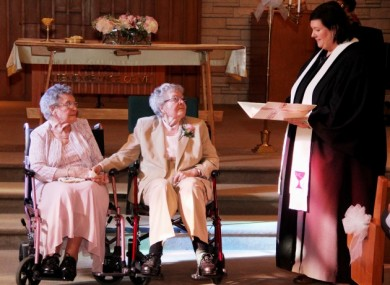 Vivian Boyack (91) and Alice Nonie Dubes (90) who got married this week.